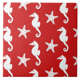 Seahorse & starfish - dark coral red and white tile