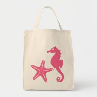Seahorse & Starfish, fuchsia pink Tote Bag
