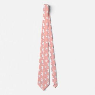 Seahorse & starfish - Light Coral Pink Tie