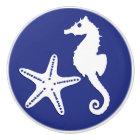 Seahorse & starfish - navy blue and white ceramic knob