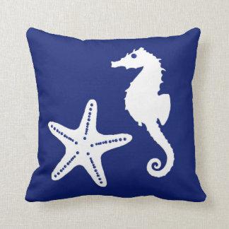Seahorse & starfish - navy blue and white cushion