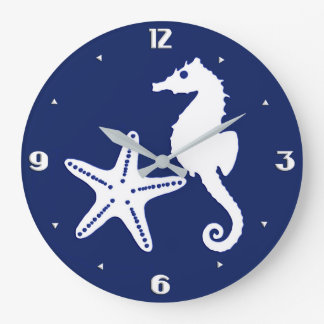 Seahorse & starfish - navy blue and white large clock