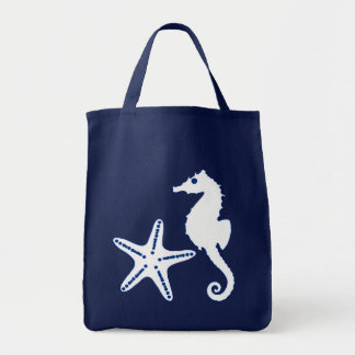 Seahorse & Starfish, navy blue and white Tote Bag