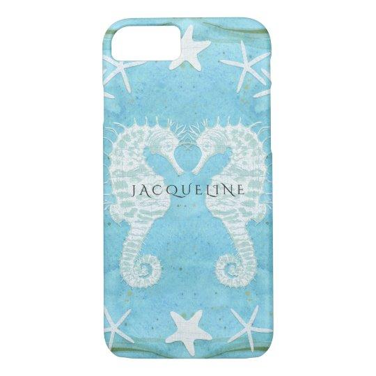 Seahorse Starfish Ocean Beach Sea Watercolor Blue iPhone