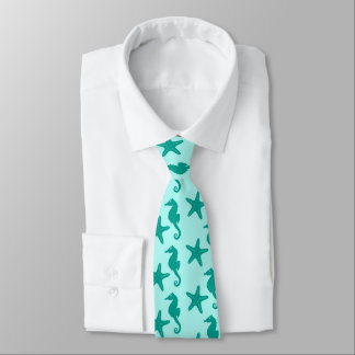 Seahorse & starfish - turquoise and aqua tie
