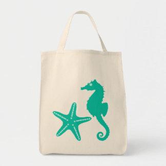Seahorse & Starfish, turquoise and aqua Tote Bag
