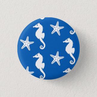 Seahorse & starfish - white on cobalt blue 3 cm round badge