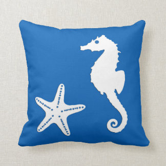 Seahorse & starfish - white on cobalt blue throw pillow