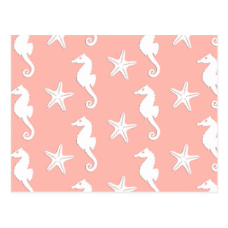 Seahorse & starfish - white on coral pink post card