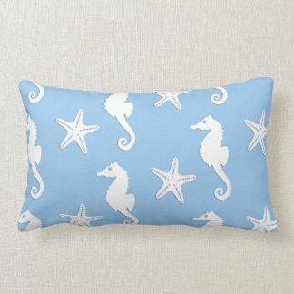 Seahorse & starfish - white on pale blue lumbar cushion
