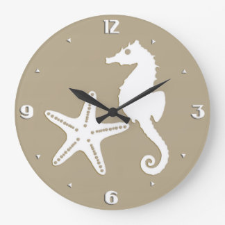 Seahorse & starfish - white on taupe tan large clock