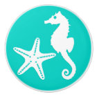 Seahorse & starfish - white on turquoise ceramic knob