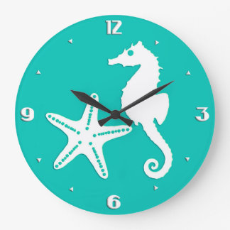 Seahorse & starfish - white on turquoise large clock