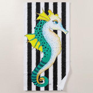 Seahorse Teal Black Stripes Beach Towel
