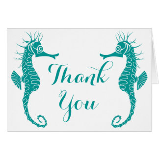 Seahorse Teal Green Turquoise Thank You Beach Card