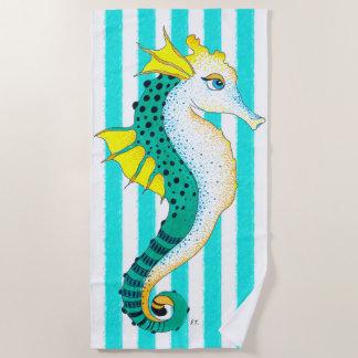 Seahorse teal stripes beach towel
