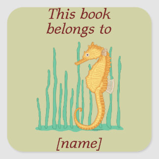 Seahorse This Book Belongs To Book Plate Sticker