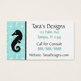 Seahorse Tropical Oceanic Teal Business Cards