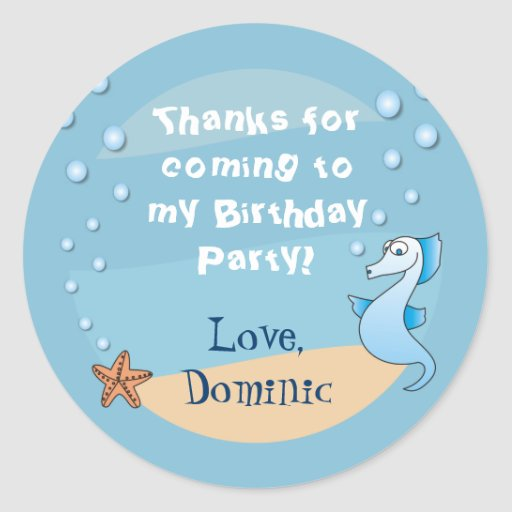 Seahorse Under the Sea Thank You Stickers