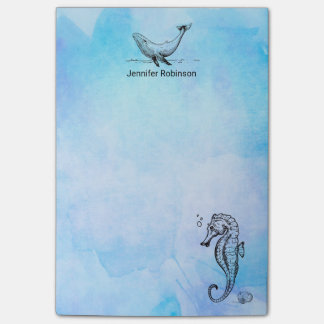 Seahorse, Whale and Seashell on Blue Watercolor Post-it Notes