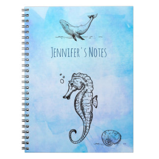 Seahorse, Whale and Seashell on Blue Watercolor Spiral Notebooks