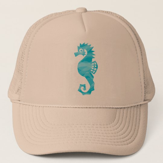 Seahorse with aqua waves cap