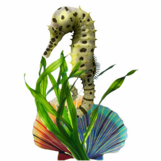 Seahorse with Seaweed Keychain Photo Sculpture Keychain