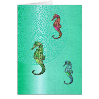 Seahorses and Aqua Blank Card