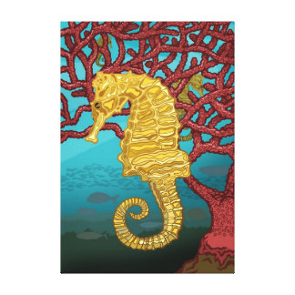 Seahorses and coral canvas print