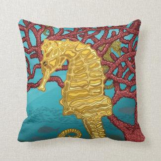 seahorses and coral cushion
