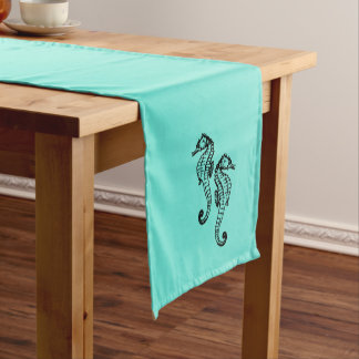 Seahorses Aqua Short Table Runner