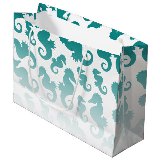Seahorses aqua/teal pattern custom background large gift bag
