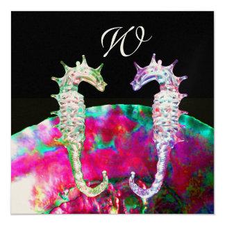 SEAHORSES BEACH WEDDING MONOGRAM, pink blue black 13 Cm X 13 Cm Square Invitation Card