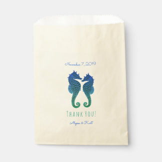 Seahorses Blue Green Beach Wedding Favor Favour Bags