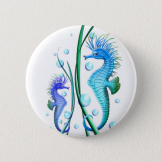 Seahorses Cartoon Button