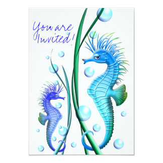 Seahorses Cartoon Invitation