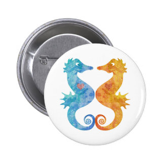 Seahorses in Love 6 Cm Round Badge