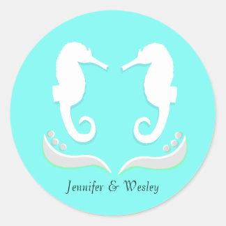 Seahorses Modern Wedding Envelope Sticker