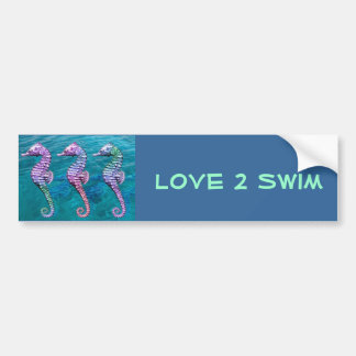 Seahorses on Ocean Background Bumper Stickers