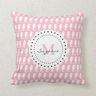 Seahorses Pattern   Pale Pink Monogram Cushion