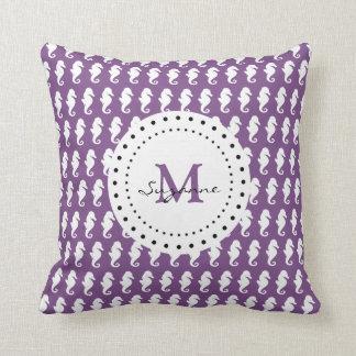Seahorses Pattern   Purple Monogram Cushion