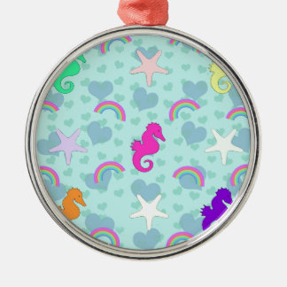 Seahorses, Rainbows and Starfish Design Silver-Colored Round Decoration