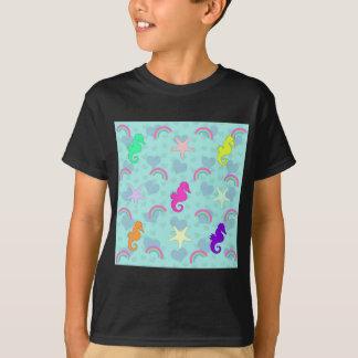 Seahorses, Rainbows and Starfish Design T-Shirt