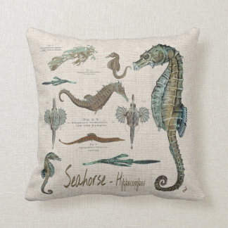 Seahorses, Sea dragons, and Sea pipes Throw Pillow