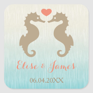 Seahorses With A Heart And Custom Names Wedding Square Sticker