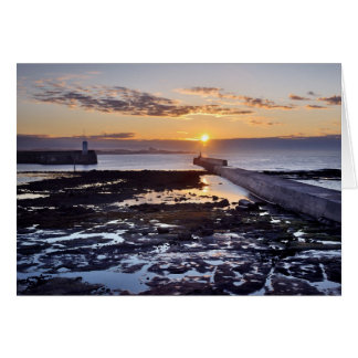 Seahouses sunset, Northumberland Greeting Card