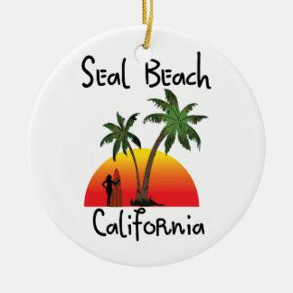 Seal Beach California Round Ceramic Decoration