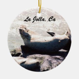 Seal Blowing a Kiss in La Jolla Christmas Ornament