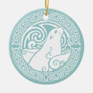 Seal in Snow Round Ceramic Decoration