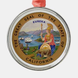 Seal of California Ornament Silver-Colored Round Ornament
